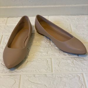 Taupe Microsuede Pointed Ballet Flats